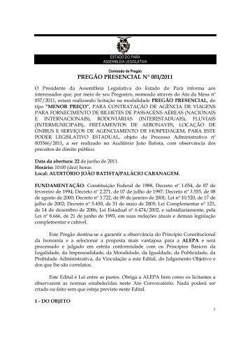 pregão presencial n° 001/2011 - Assembléia Legislativa do Estado ...