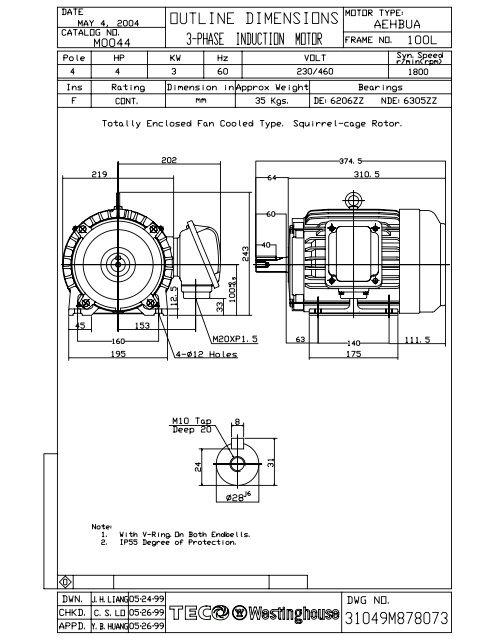 olm0044 model 1  tecowestinghouse motor company