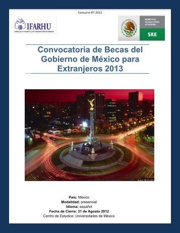 Convocatoria de Becas del Gobierno de México para Extranjeros ...