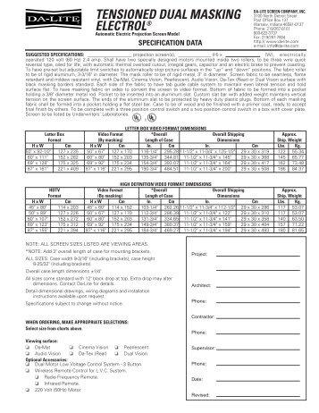 Specification Data - Media Fabricators, Inc.