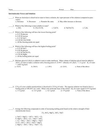 Intermolecular Forces Worksheet 2