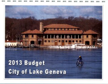 2013 Budget Document - City of Lake Geneva