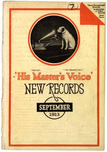 His Master's Voice New Records September 1913 - British Library ...