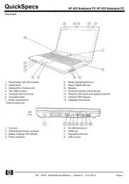 HP 425 Notebook PC HP 625 Notebook PC