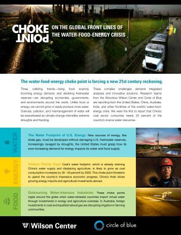 W a ter Food e nergy - The Water, Energy and Food Security Nexus