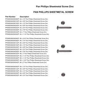 PAN PHILLIPS HEAD SHEET METAL SCREWS - Jet Industrial