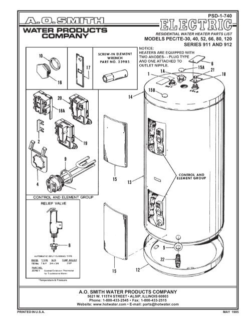 911 And 912 A O Smith Water Heaters