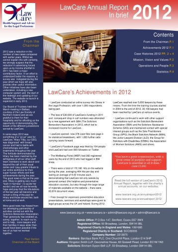 to download the short version 2012 Annual Report as a ... - LawCare