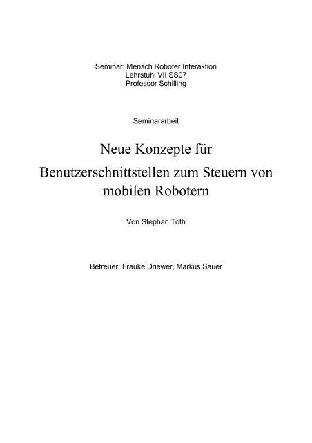 Neue Konzepte für - Lehrstuhl für Informatik VII