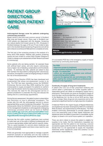 PATIENT GROUP DIRECTIONS IMPROVE ... - GGC Prescribing
