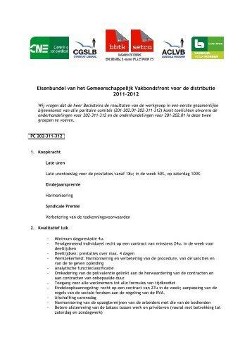 Distributie : eisenbundel cao 2011-2012 - Aclvb