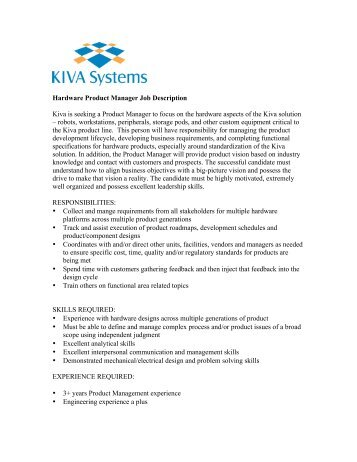 Technical Product Manager Job Description V  Kiva Systems