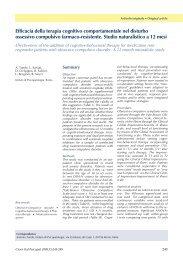 Efficacia della terapia cognitivo comportamentale nel disturbo ...