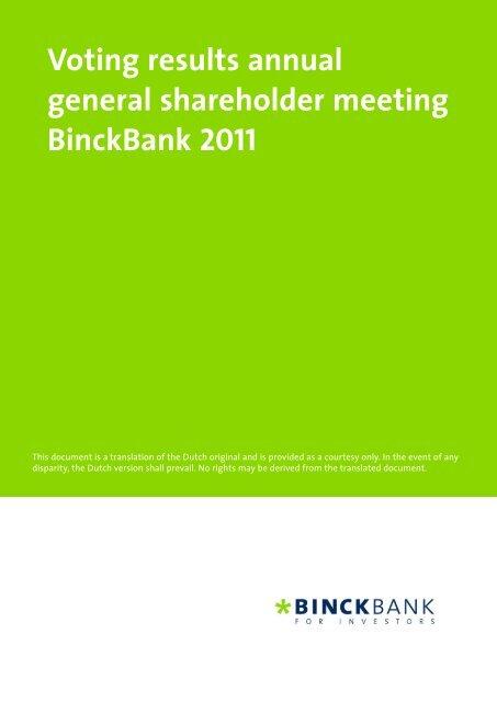 Voting results annual general shareholder meeting ... - at BinckBank