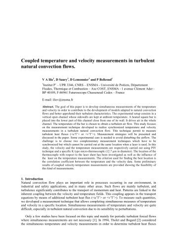Coupled temperature and velocity measurements in turbulent ...