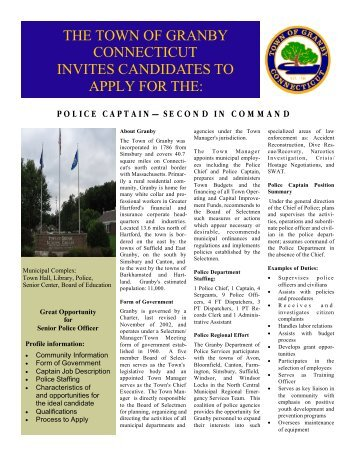 the town of granby connecticut invites candidates to apply for the