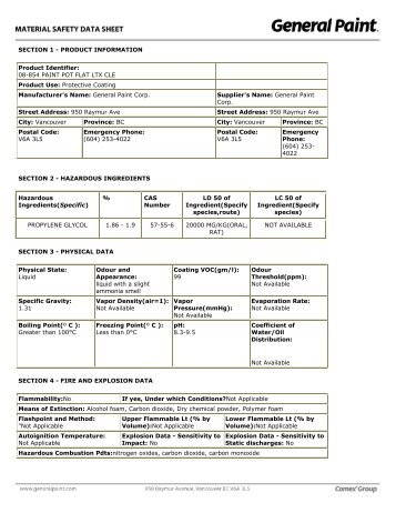 SECTION 1 - PRODUCT INFORMATION ... - General Paint Ltd.