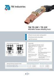 TBi TD 20F / TD 22F MIG/MAG Tandem Welding Torch - TBi Industries