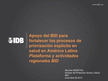 Plataforma y actividades regionales BID