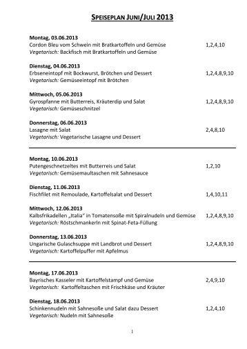 speiseplan juni/juli 2013 - Realschule Plus Herrstein/ Rhaunen