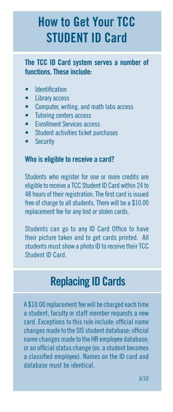 How to Get Your TCC STUDENT ID Card