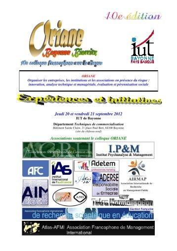 Jeudi 20 et vendredi 21 septembre 2012 ... - IUT Bayonne