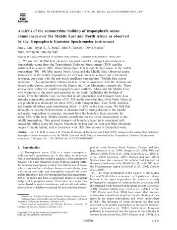 Analysis of the summertime buildup of tropospheric ozone ...