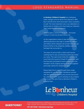 Logo Standards Manual - Le Bonheur Children's Hospital