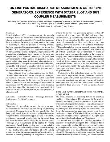 on-line partial discharge measurements on turbine generators ...