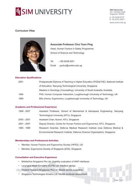 Associate Professor Chui Yoon Ping Curriculum Vitae Sim University