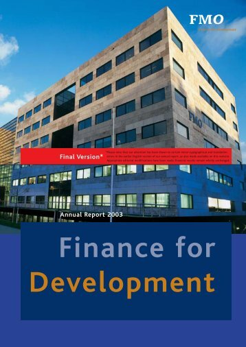 Annual report 2003 - FMO