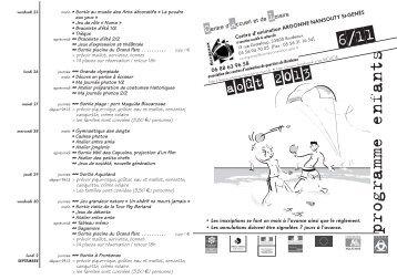ARG prog 6_11 août 2013 - Association des centres d'animation de ...