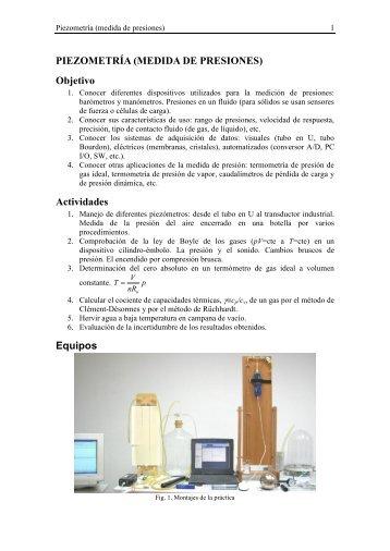 PIEZOMETRÍA (MEDIDA DE PRESIONES) Objetivo Actividades ...