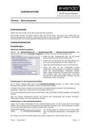KURZANLEITUNG Thema: Bonussystem - E-vendo