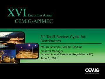 3rd Tariff Review Cycle for Distributors - Cemig