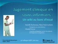 Jugement clinique en soins infirmiers : un wiki au banc d'essai - AQPC