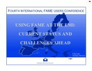 using fame at the emi: current status and challenges ahead - Sungard