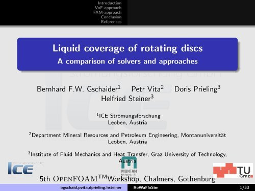 A comparison of solvers and approaches - Montanuniversität
