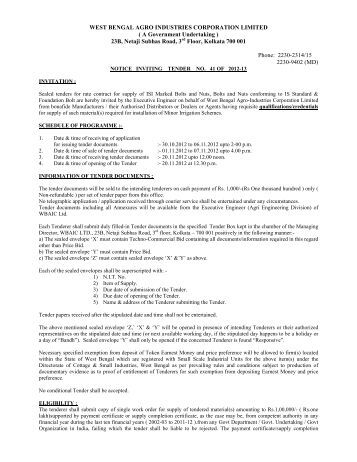 WEST BENGAL AGRO INDUSTRIES CORPORATION LIMITED ( A ...