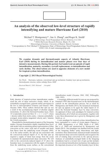 An analysis of the observed low-level structure of rapidly intensifying ...