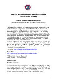 Nanyang Business School (NTU) Singapore - University of ...