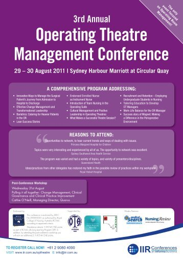 Operating Theatre Management Conference 3rd Annual - VPNG
