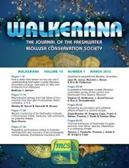 walkerana volume 15 number 1 march 2012 - FMCS-Freshwater ...