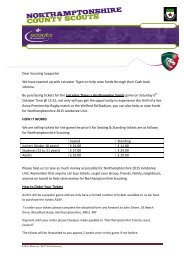 Dear Scouting Supporter We have teamed up with Leicester Tigers ...