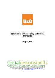 B&Q Timber & Paper Policy and Buying Standards