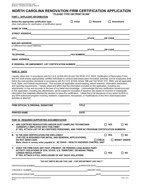Application for Lead Renovation Firm Certification - Epi