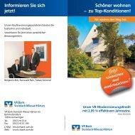 Informieren Sie sich jetzt! - VR Bank Steinlach-Wiesaz-Härten eG