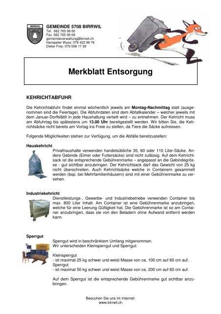 Merkblatt Entsorgung Birrwil