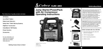 Jump Starter/PowerPack With Air Compressor ... - Cobra Electronics