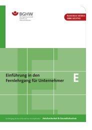 Lernheft E - Gefährdungsbeurteilung